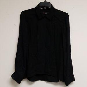 Alice + Olivia Black Silk Button Down Top Size S